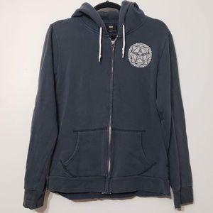 OBEY Full Zip Hoodie Medallion Sweatshirt, sz L